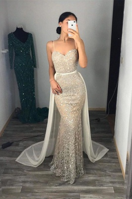 Sweetheart Fitted Spaghetti Straps Prom Dresses with Detachable Train_2