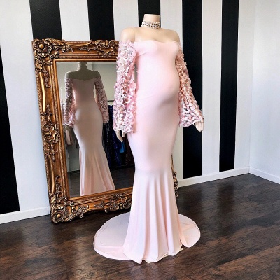 Cute Off the Shoulder Long Sleeves Pink Maternity Dresses_2