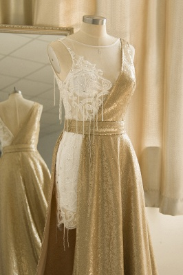 Jewel Sleeveless Lace Sequin Gold Prom Dresses | Design Formal Gown_6