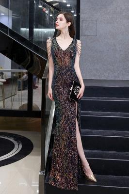 Women's Stylish V-neck Sleeveless Floor Length Thigh Slit Form-fitting Prom Dresses_8