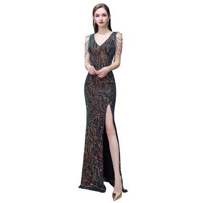Women's Stylish V-neck Sleeveless Floor Length Thigh Slit Form-fitting Prom Dresses_3