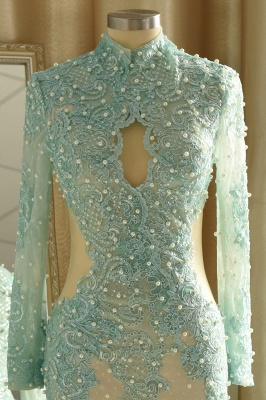 High Neck Long Sleeves Lace Mermaid Prom Dresses with Cut outs_6