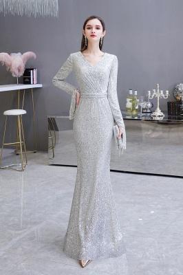 V-neck Long Sleeves Form-fitting Floor Length Burgundy Sequin Prom Dresses_9