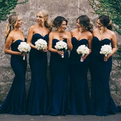 Navy Blue Cheap Mermaid Prom Dress Long Bridesmaid Dress_3