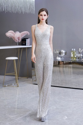 Women's Fashion V-neck Straps Sparkly Sequin Prom Jumpsuit_5