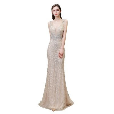 V-neck Cap Sleeves Floor Length Crystal Belt Sheath Prom Dresses_29