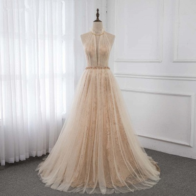 Cute Halter Keywhole Sleeveless Belted A-line Tulle Prom Dresses_7