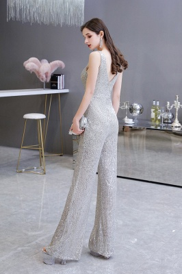 Women's Fashion V-neck Straps Sparkly Sequin Prom Jumpsuit_4