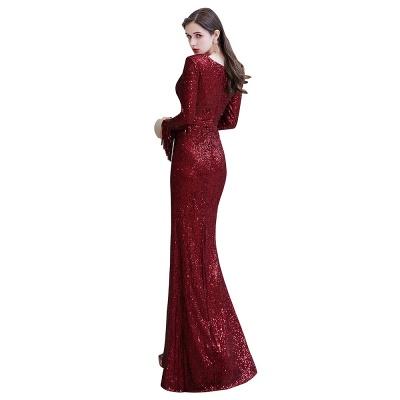 V-neck Long Sleeves Form-fitting Floor Length Burgundy Sequin Prom Dresses_27