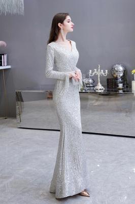 V-neck Long Sleeves Form-fitting Floor Length Burgundy Sequin Prom Dresses_5