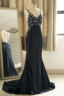 Spaghetti Straps V-neck Sexy Fitted Sleek Prom Dresses_4