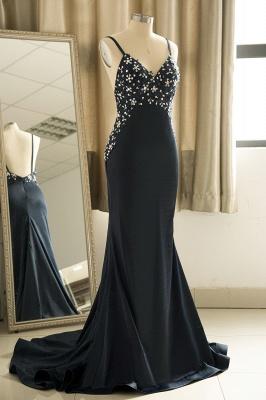 Spaghetti Straps V-neck Sexy Fitted Sleek Prom Dresses_4