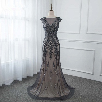 Bateau Cap Sleeves Fitted and Flare Beaded Black Prom Dresses_7