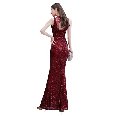 Women's Fashion High Neck Sleeveless Long Sparkly Sequin Form-fitting Prom Dresses_12