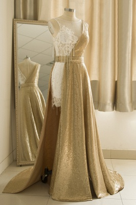Jewel Sleeveless Lace Sequin Gold Prom Dresses | Design Formal Gown_4