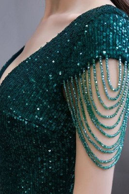 V-neck Cap Sleeves Floor Length Emerald Form-fitting Sequin Prom Dresses_13