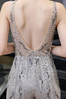 Women's Stylish Round Neck Sleeveless Open Back Beaded Sparkly Prom Jumpsuit_11