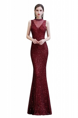 Women's Fashion High Neck Sleeveless Long Sparkly Sequin Form-fitting Prom Dresses_1