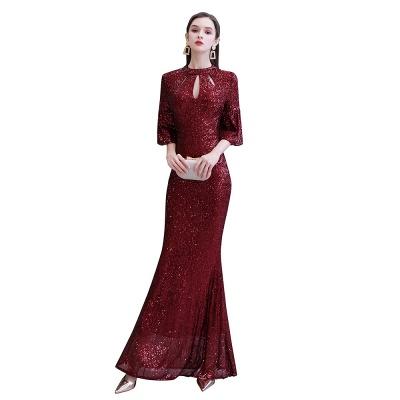 Women's Fashion Jewel Keyhole Half Sleeves Long Sequin Burgundy Prom Dresses_13