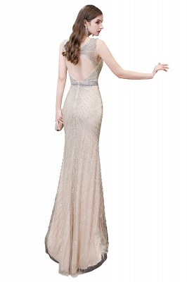 V-neck Cap Sleeves Floor Length Crystal Belt Sheath Prom Dresses_30