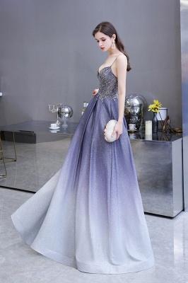Spaghetti Straps V-neck Beaded Appliques A-line Floor Length Prom Dresses_16