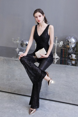 Women's Fashion V-neck Straps Sparkly Sequin Prom Jumpsuit_17