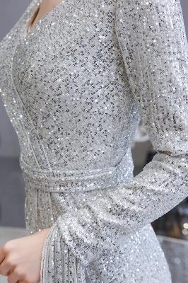 V-neck Long Sleeves Form-fitting Floor Length Burgundy Sequin Prom Dresses_13