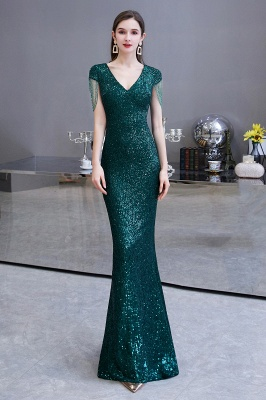 V-neck Cap Sleeves Floor Length Emerald Form-fitting Sequin Prom Dresses_2