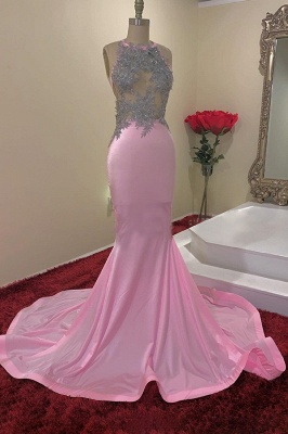 Jewel Sleeveless Appliques Sheer Pink Mermaid Prom Dresses