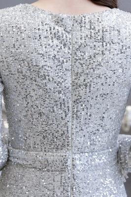 V-neck Long Sleeves Form-fitting Floor Length Burgundy Sequin Prom Dresses_15