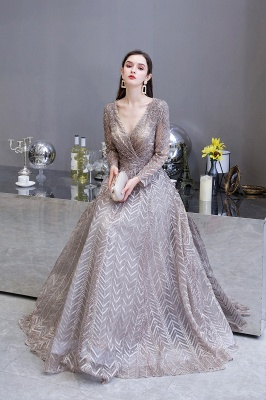 V-neck Long Sleeves Floor Length Lace A-line Gorgeous Prom Dresses_16