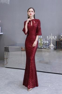 Women's Fashion Jewel Keyhole Half Sleeves Long Sequin Burgundy Prom Dresses_7