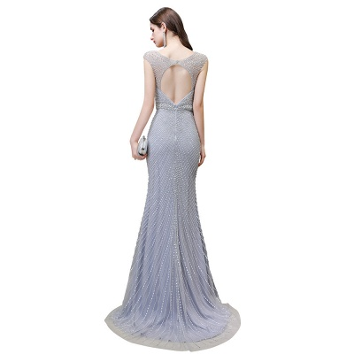 V-neck Cap Sleeves Floor Length Crystal Belt Sheath Prom Dresses_26