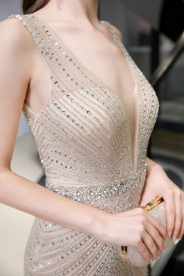 V-neck Cap Sleeves Floor Length Crystal Belt Sheath Prom Dresses_23