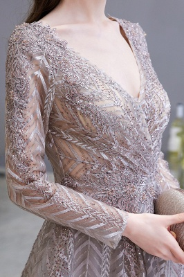 V-neck Long Sleeves Floor Length Lace A-line Gorgeous Prom Dresses_9