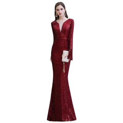 V-neck Long Sleeves Form-fitting Floor Length Burgundy Sequin Prom Dresses_20