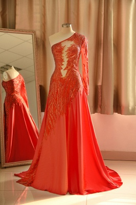 One Shoulder Sheer A-line Red Sexy Prom Dresses | Formal Evening Dresses