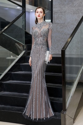 High Neck Long Sleeves Sheer Beaded Sexy Fitted Prom Dresses