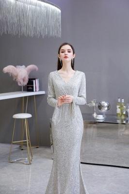V-neck Long Sleeves Form-fitting Floor Length Burgundy Sequin Prom Dresses_6