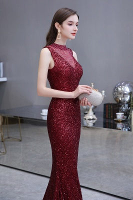 Women's Fashion High Neck Sleeveless Long Sparkly Sequin Form-fitting Prom Dresses_9