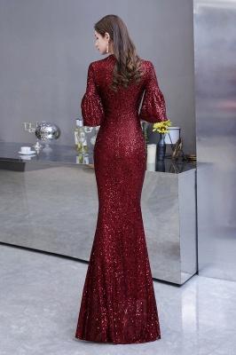 Women's Fashion Jewel Keyhole Half Sleeves Long Sequin Burgundy Prom Dresses_8