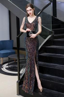 Women's Stylish V-neck Sleeveless Floor Length Thigh Slit Form-fitting Prom Dresses_17