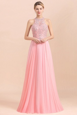 Jewel Sleeveless Lace Chiffon Cheap Long Party Dresses_22