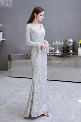 V-neck Long Sleeves Form-fitting Floor Length Burgundy Sequin Prom Dresses_8