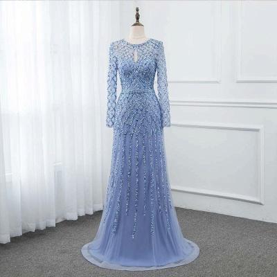 Jewel Keyhole Long Sleeves A-line Light Blue Prom Dresses with Beads_9
