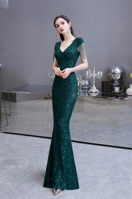 V-neck Cap Sleeves Floor Length Emerald Form-fitting Sequin Prom Dresses_9