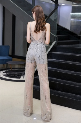 Women's Stylish Round Neck Sleeveless Open Back Beaded Sparkly Prom Jumpsuit_4