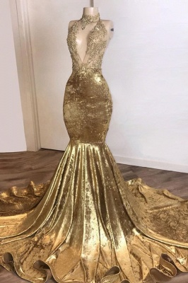 V-neck Spaghetti Straps Appliques Sexy Mermaid Velvet Prom Dresses_1