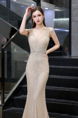 V-neck Cap Sleeves Floor Length Crystal Belt Sheath Prom Dresses_17