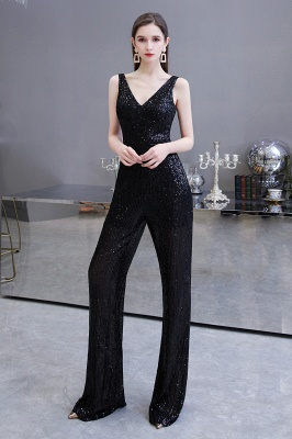 Women's Fashion V-neck Straps Sparkly Sequin Prom Jumpsuit_13